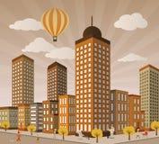 Vida de ciudad en perspectiva libre illustration