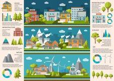 Vida de ciudad Infographics ilustración del vector