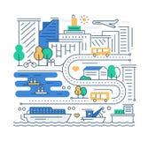 Vida de ciudad - línea composición del diseño Foto de archivo