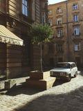 Vida de ciudad de la ciudad antigua de Lviv fotografía de archivo