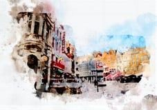 Vida de la ciudad en estilo de la acuarela Fotografía de archivo libre de regalías