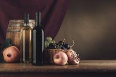 Vida de la degustación de vinos y todavía de la fruta Foto de archivo libre de regalías