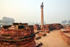 Vida de la India: Pilares de Ashoka en Vaishali fotografía de archivo libre de regalías