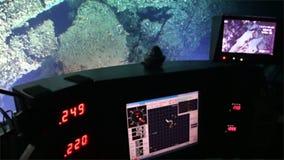 Vida de la opinión coralina de mar profundo de los filones del submarino en el Océano Pacífico de la profundidad de 300 m almacen de video
