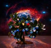 Vida de la reflexión del espacio del árbol de los planetas en otros mundos Fotos de archivo libres de regalías