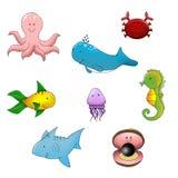 Vida de mar divertida de los animales Imagenes de archivo