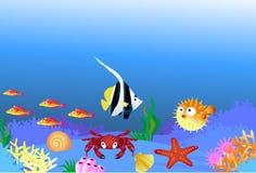 Vida de mar dos desenhos animados Fotografia de Stock Royalty Free