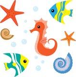 A vida de mar dos desenhos animados ajustou 1 Fotos de Stock