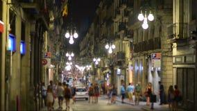 Vida de noche en Barcelona, España almacen de video
