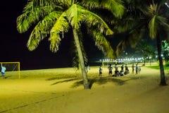 Vida de noche en la playa de la costa de DA del Praia, Vila Velha, EspÃrito Santo State, el Brasil Imagen de archivo