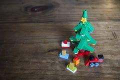 Vida de Toy Block Christmas Tree Still Fotografia de Stock