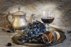 Vida de Vstill con el vino y las uvas Fotografía de archivo libre de regalías