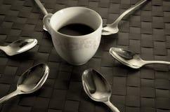 Vida del café y todavía de las cucharillas Fotos de archivo libres de regalías