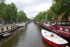 Vida del canal, Amsterdam, Holanda Imagenes de archivo