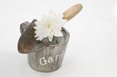 Vida del concepto que cultiva un huerto aún con las espadas, el pote y la flor blanca Fotos de archivo libres de regalías