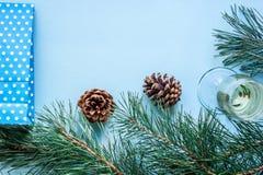 Vida del ` todavía s del Año Nuevo - un vidrio de champán, de decoraciones de la Navidad y de ramas spruce en fondo azul Foto de archivo