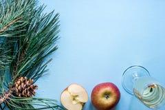 Vida del ` todavía s del Año Nuevo - un vidrio de champán, de decoraciones de la Navidad y de ramas spruce en fondo azul Imagen de archivo libre de regalías