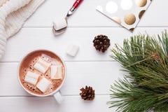 Vida del travesaño del invierno con cacao caliente Fotografía de archivo