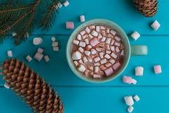 Vida del travesaño del invierno con el cacao caliente, melcochas Fotografía de archivo libre de regalías