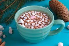 Vida del travesaño del invierno con el cacao caliente, melcochas Imágenes de archivo libres de regalías