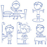 Vida diária dos meninos da manhã Imagem de Stock