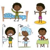 Vida diaria de los muchachos del African-American de la mañana Libre Illustration