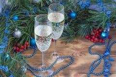 Vida do ano novo ainda, campo, pinho, decoração do ornamento Imagem de Stock
