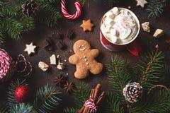 Vida do Natal ou do inverno ainda com o copo do chocolate quente, das cookies e dos bastões de doces Fotografia de Stock