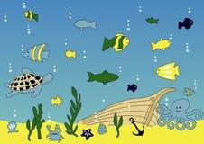 Vida do oceano e de mar ilustração royalty free