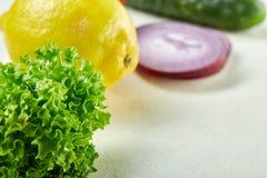 Vida dos legumes frescos ainda Veges alinhou em um fundo branco, vista superior, close-up, foco seletivo, espaço da cópia Foto de Stock Royalty Free