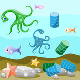 Vida e poluição do alto mar do ambiente ilustração stock