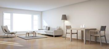 Vida e sala de jantar na casa moderna Imagens de Stock
