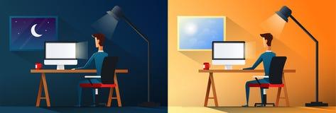 Vida empresarial ou trabalhador do viciado em trabalho do desenhista na ilustração do vetor da cena do escritório dia e noite ilustração royalty free