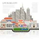 Vida en diseño grande de la ciudad ilustración del vector