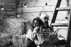Vida en la granja Cookee del cocinero y de la muchacha del cocinero Fotografía de archivo