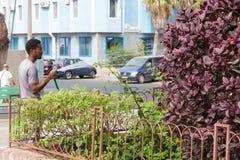 Vida en las calles de Mindelo Planta que riega en el cuadrado fotografía de archivo