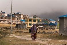 Vida en las calles en el pueblo Kyangjin Gompa foto de archivo libre de regalías