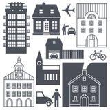 Vida en las calles y casas de Europa fijadas ilustración del vector