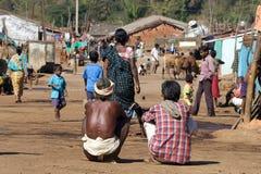 Vida en una aldea tribal Imágenes de archivo libres de regalías