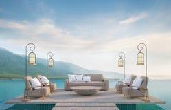Vida exterior na piscina com imagem da rendição do Mountain View 3d Fotografia de Stock