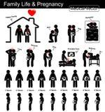 Vida familiar durante el embarazo y el desarrollo fetal (mujer embarazada y crecimiento fetal en el útero) (gradual) (médicos, Sc stock de ilustración