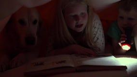 Vida feliz con los animales domésticos - pequeños niños en la noche que leen un libro bajo cubiertas con su perro grande almacen de metraje de vídeo