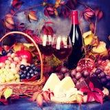 Aún vida hermosa con las copas de vino, uvas, granada y Imágenes de archivo libres de regalías