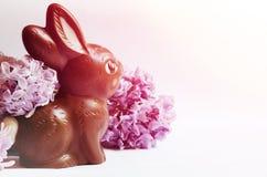 Vida imóvel festiva com coelhinho da Páscoa do chocolate e as flores lilás foto de stock royalty free