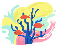 Vida marina colorida en historieta Imagenes de archivo