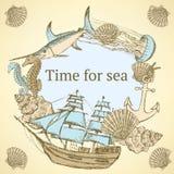 Vida marina del bosquejo en estilo del vintage stock de ilustración