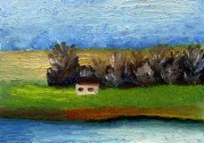Vida no campo da pintura a óleo Foto de Stock Royalty Free