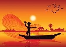 Vida no campo, rede dos peixes do lance do homem para travar peixes no barco no la da lagoa ilustração do vetor