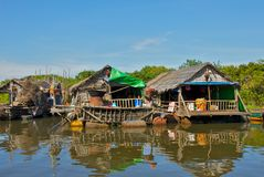 Vida no lago sap de Tonle em Camboja Fotografia de Stock Royalty Free