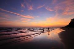 Vida no mar de Andaman após o por do sol com crepúsculo Foto de Stock
